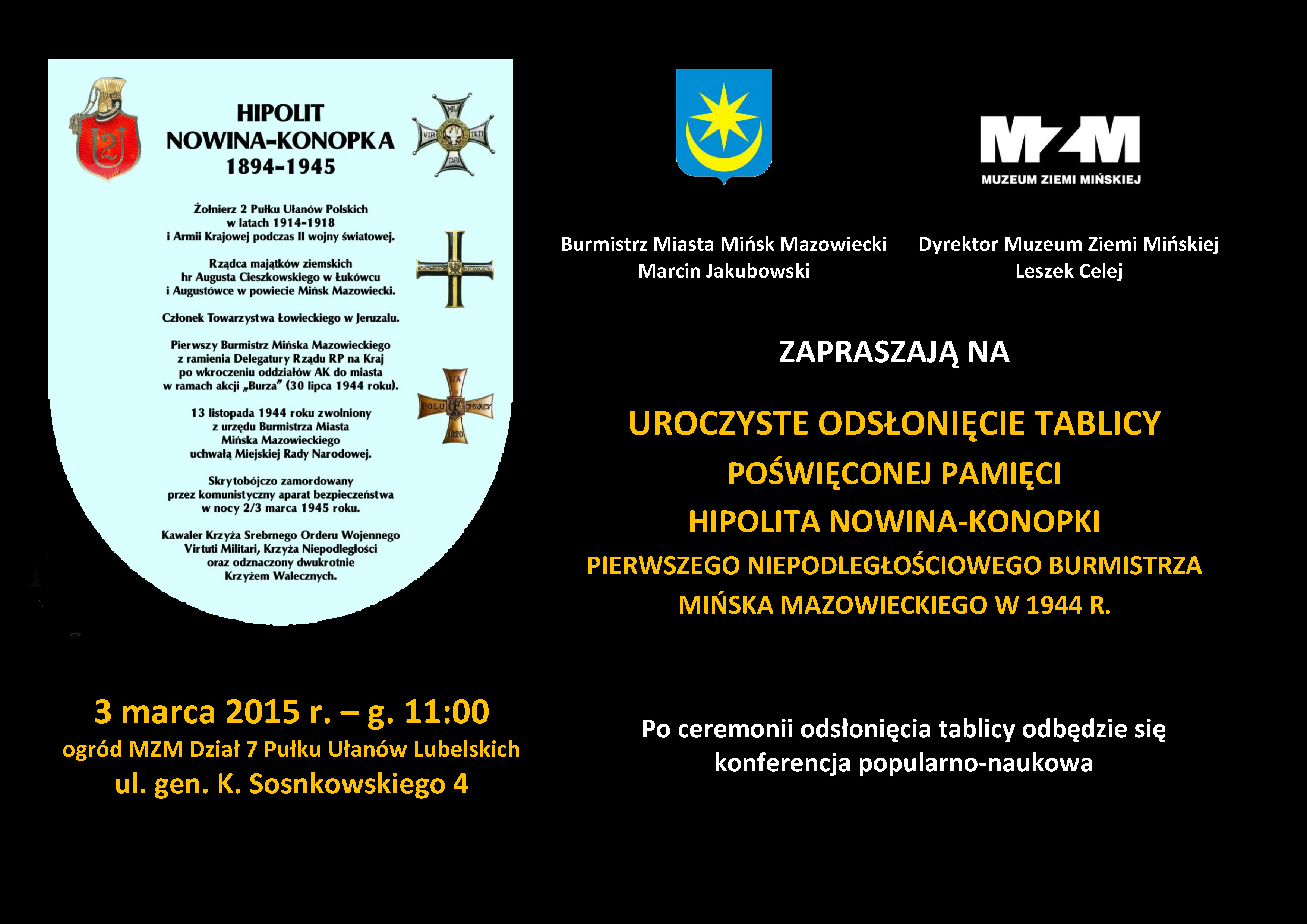 Odsłonięcie tablicy pamięci Hipolita Nowina-Konopki
