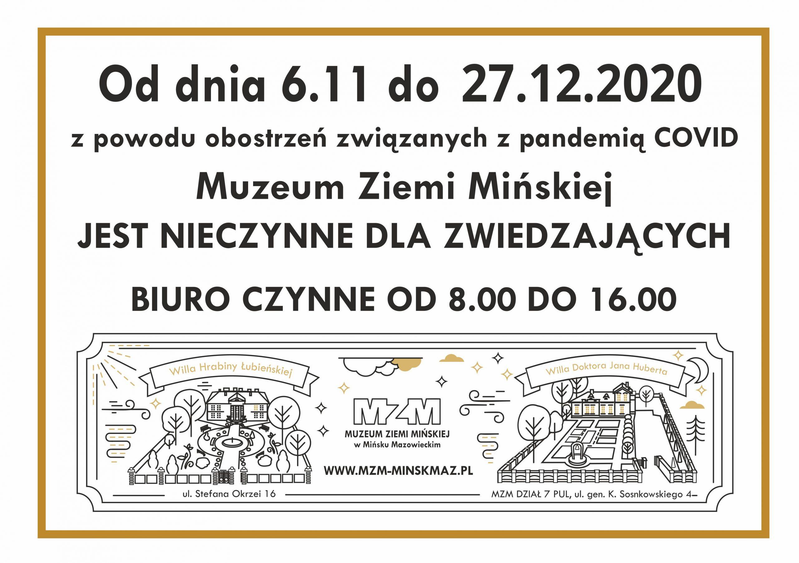 MZM nieczynne dla zwiedzających do27.12.2020