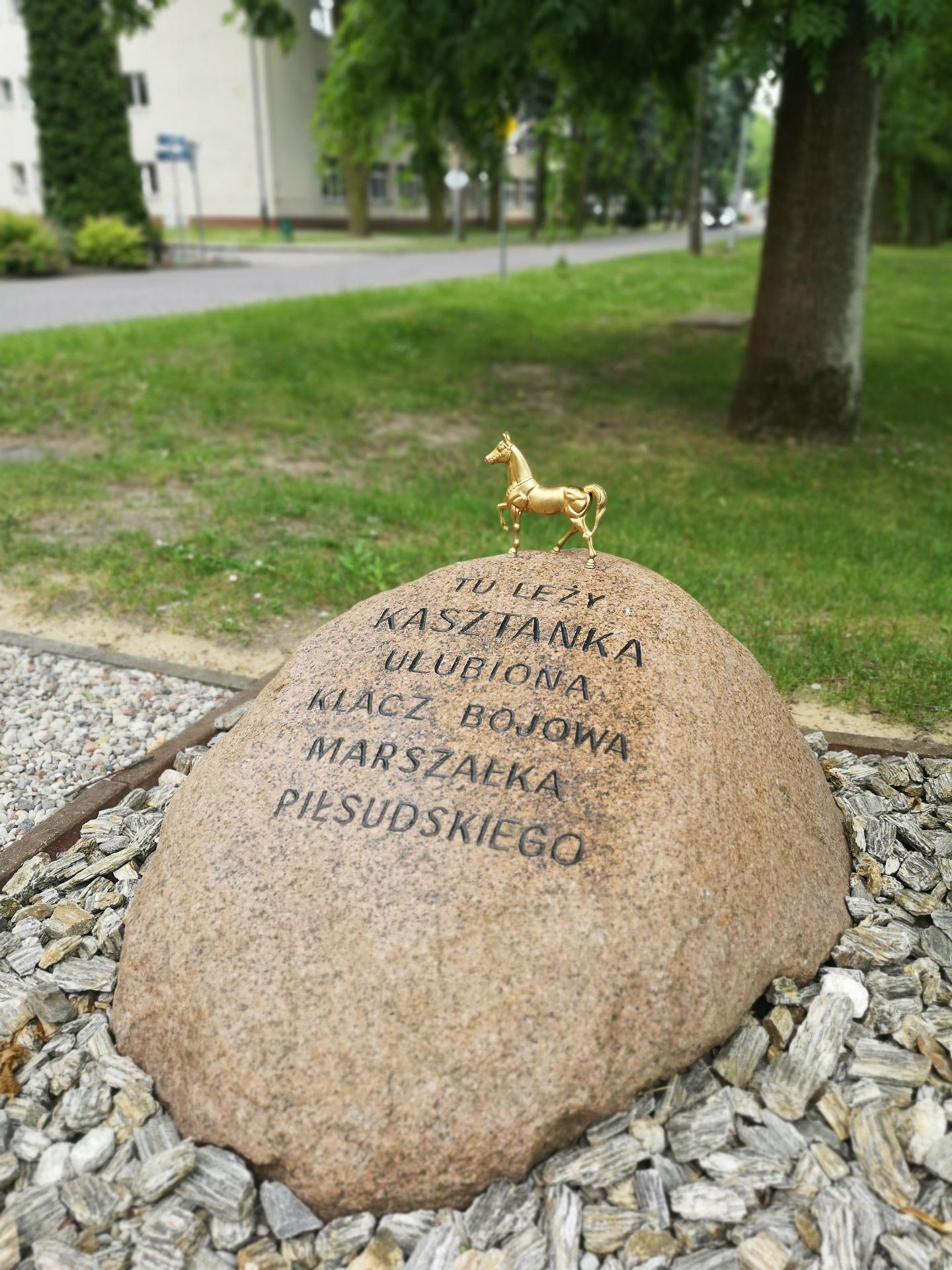 Głaz pamiątkowy z wyrytym na nim napisem ,,Tu leży Kasztanka ulubuiona klacz bojowa marszałka Piłsudskeigo. Na głazie ustawiona została mała, złota figurka przedstawiająca konia.